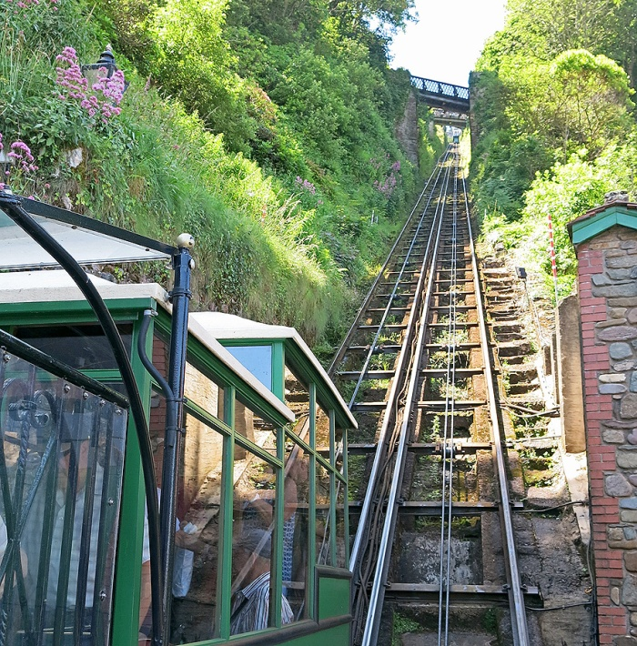 Lynton & Lynmouth Cliff Railway looking up the tracks