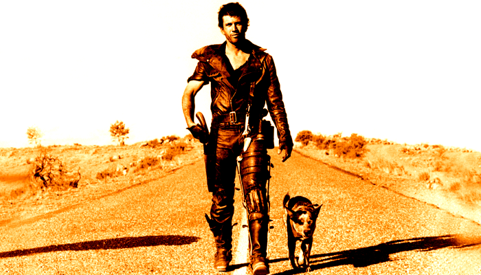 Mel Gibson walks deserted highway with dog in Mad Max 2