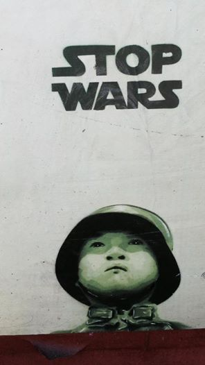 street art graffiti - Stop Wars using Star Wars font Brooklyn New York