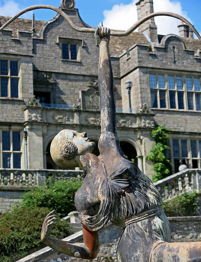 art deco statue of woman holding archery bow in grounds of Jacobean mansion Bovey Castle - Dartmoor - Photo David J Rodger