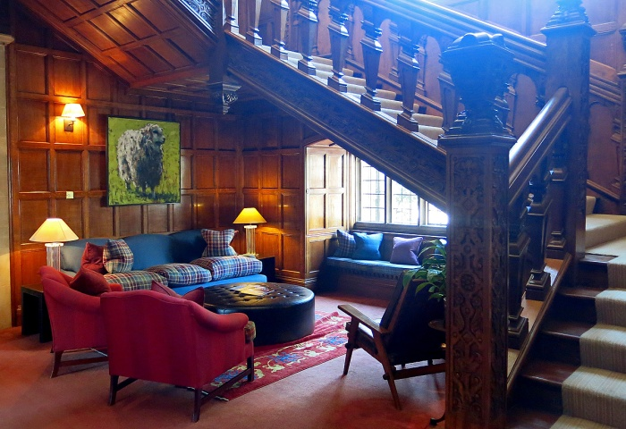 Bovey Castle Dartmoor cosy snug for late night reading and socialising beneath the staircase