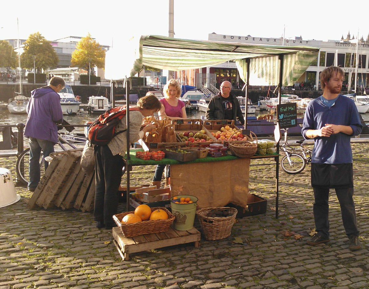 Fruit-Me-Bristol right outside the Arnolfini - freshest fruit you can get
