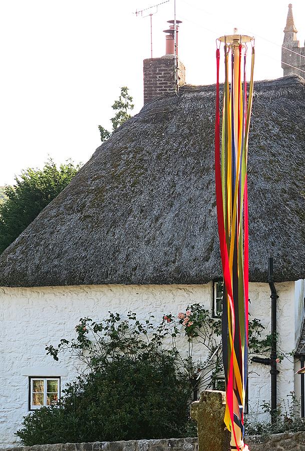 May pole in a quaint Dartmoor village