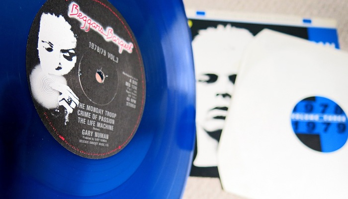 Rare Gary Numan Collection of unreleased recordings 1978 1979 volume 3 - blue vinyl detail A Side includes CRIME OF PASSION photo David J Rodger (please credit)