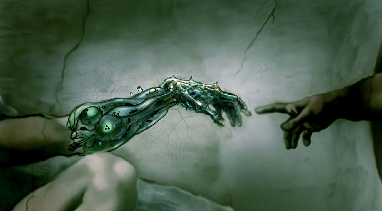 Transhumanism concept based on fresco painting by Michelangelo The Creation of Adam - cyborg hand near touching hand of God