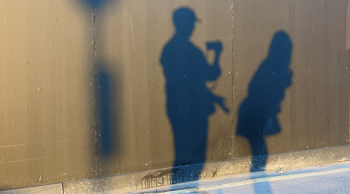 will the real BANKSY please step forward - shadow play - photo by David J Rodger
