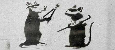 graffiti stencil work at NDSM Amsterdam - rats breaking into art - photo by David J Rodger