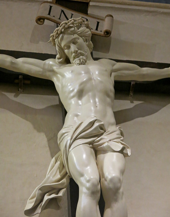Saint John's Co-Cathedral in Valletta -sculpture of unknown origin arrived 1653 forms part of three figures crucifixion group or Golgotha group