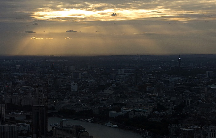 sunset over London - BT and memories of Roof World by Christopher Fowler - image David J Rodger taken at The Shard