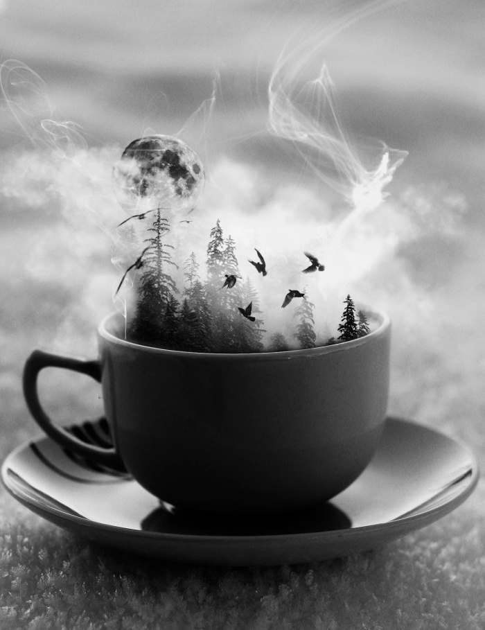creativity is just a sip away - black and white photoshop image coffee cup for artists and writers