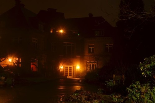 Merkenson Estate at night - barely any lights and a strange atmosphere