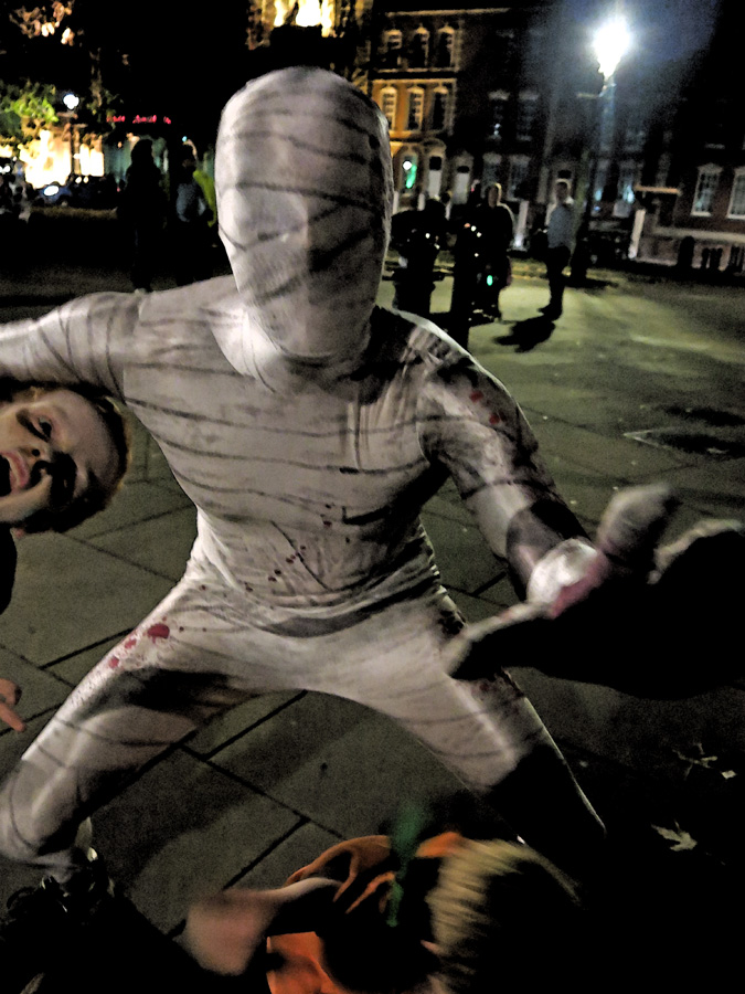 Mummy attacks kids - Bristol Zombie Walk 2014