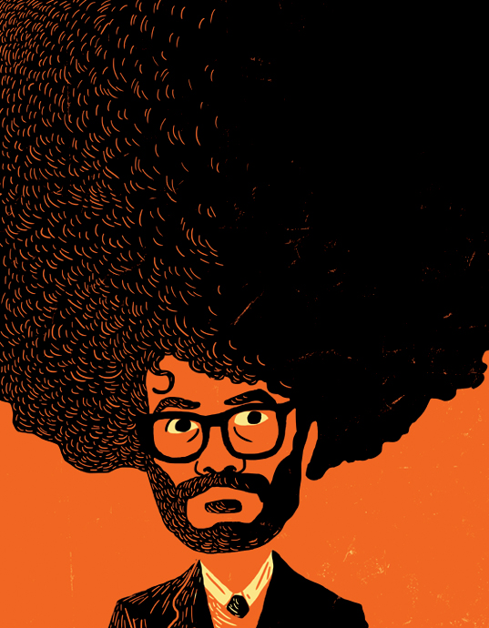 Richard Ayoade illustration for Little White Lies what I love about movies - by Øivind Hovland