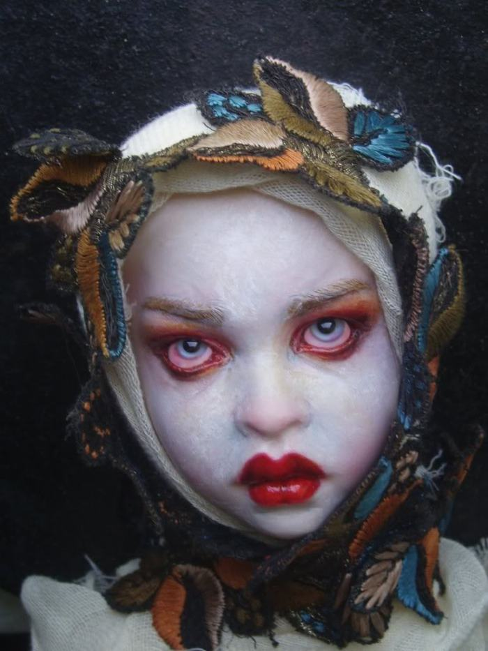 sinister doll halloween face by Nita Collins - All Rights Reserved