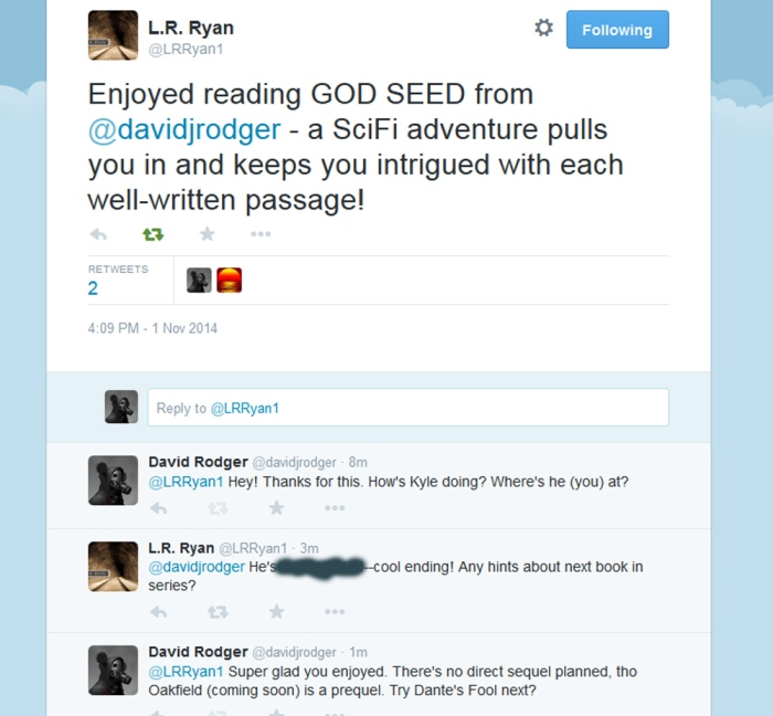 Twitter comment about God Seed a science fiction cyberpunk novel written by David J Rodger