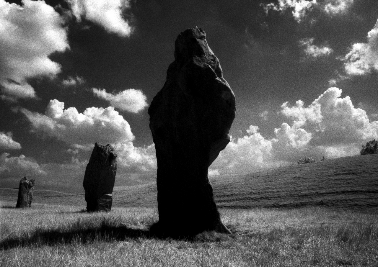 Avebury standing stones shot in IR by Tony Mills -Cthulhu Mythos sentinels for Conjurations and Calling Great Old Ones or the Outer God Yog-Sothoth