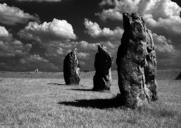 Avebury standing stones shot in IR by Tony Mills - dated around 2600 BCE mysterious relics of a lost cult - powerful focus for magical ceremony