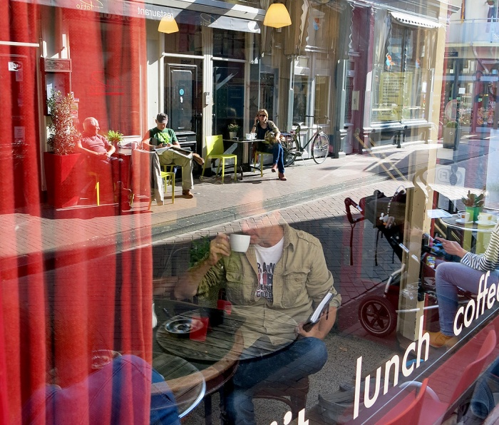 David J Rodger at Cafe Tuin Jordaan District Amsterdam