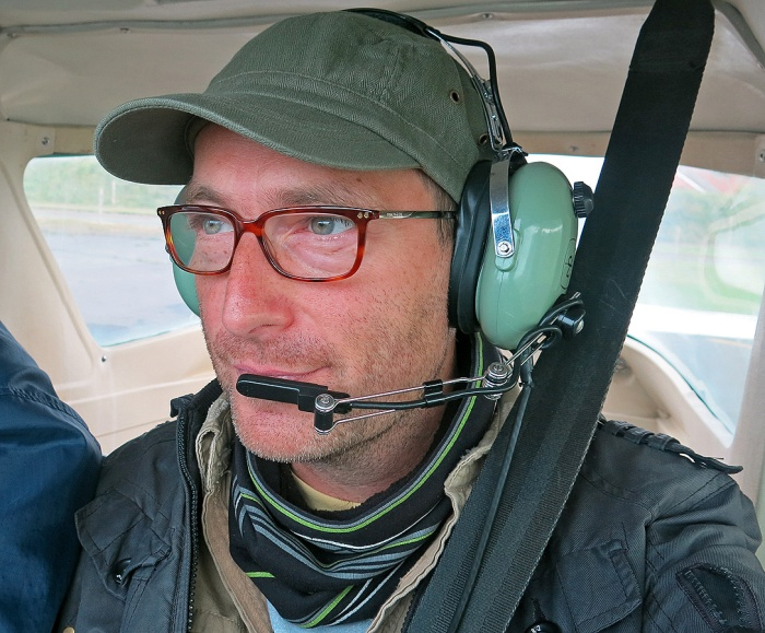 David J Rodger at controls of Cessna 152