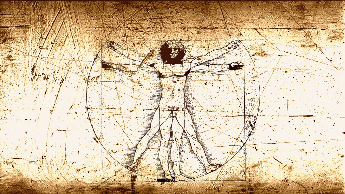 Leonardo Da Vinci vitruvian-man - using different sleep patterns to maximise creative output - a writing technique used by David J Rodger