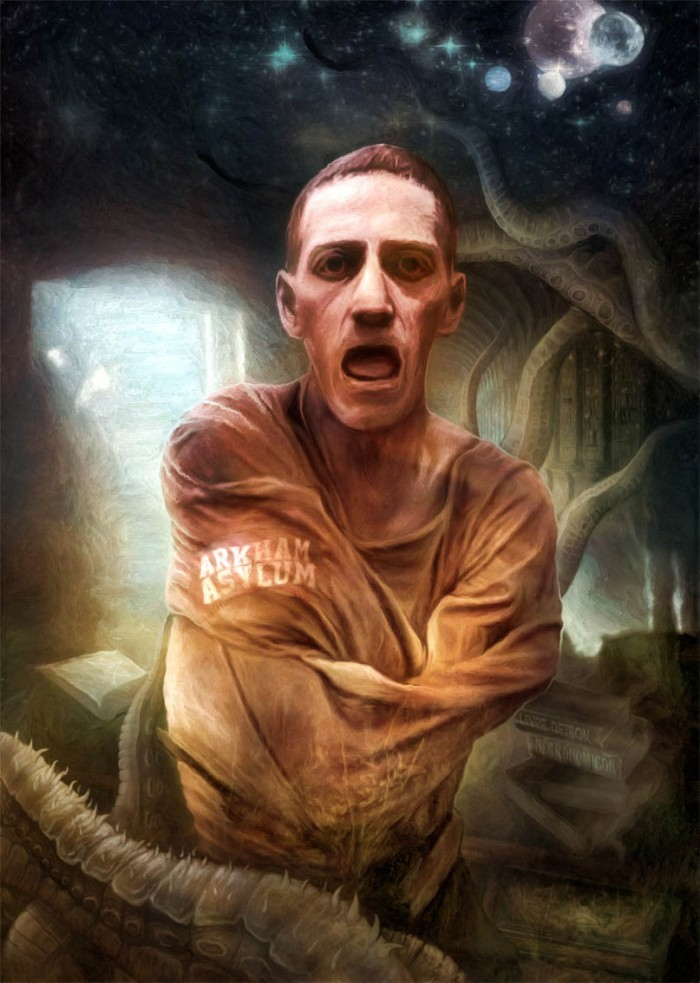 Macabre horror art - Portrait of H P Lovecraft - Arkham Asylum by moracz - deviantart - all rights reserved