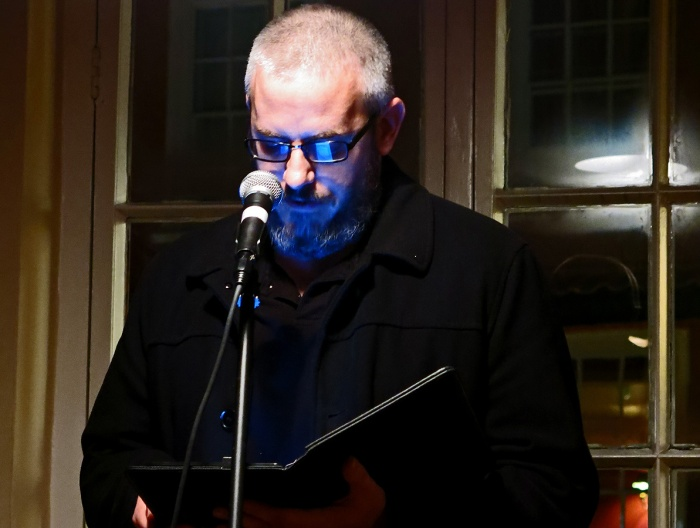 Matthew J Hall reading Fire and the Fox at Small Stories Bristol Nov 2014 - photo by David J Rodger