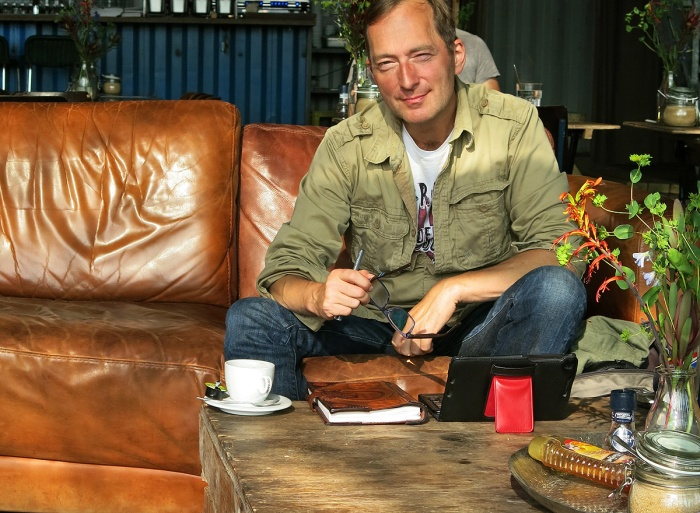 Science Fiction Thriller Author David J Rodger at Pllek, NDSM, Amsterdam