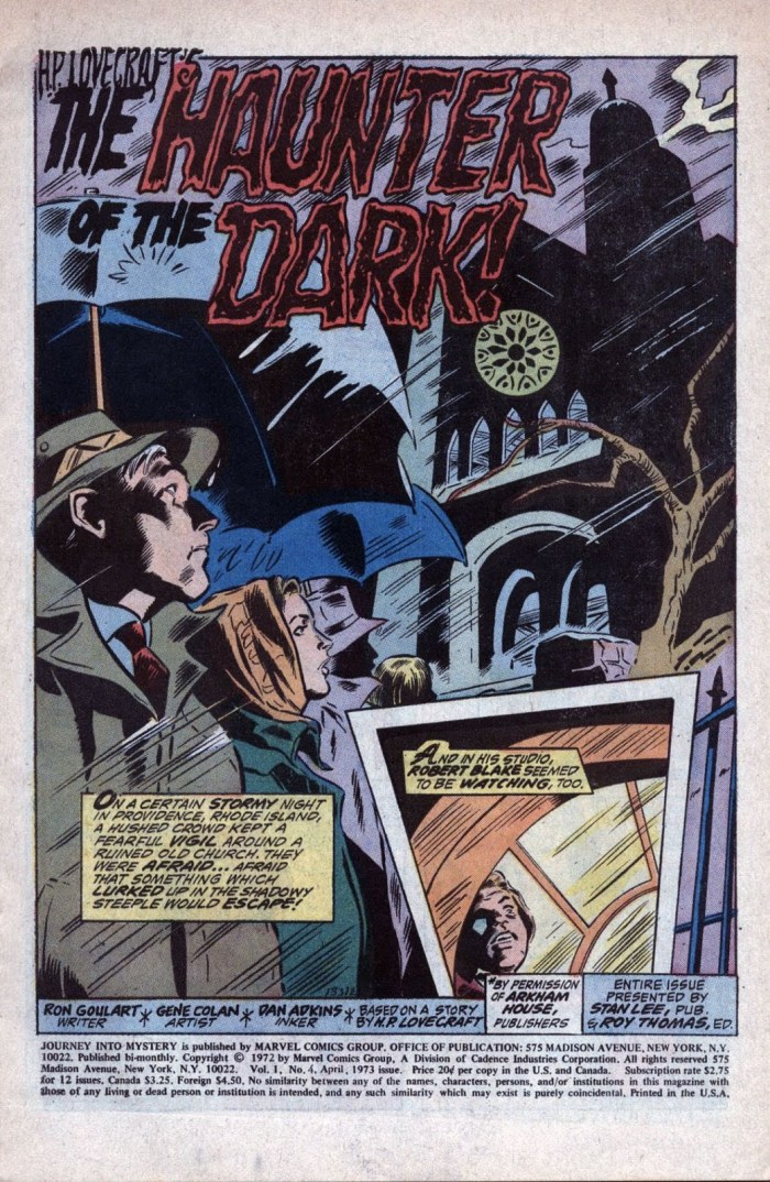 The Haunter of the Dark H P Lovecraft tale of cosmic terror adapted by Ron Goulart with art by Gene Colan and Dan Adkins for Journey Into Mystery Issue 4 April 1973