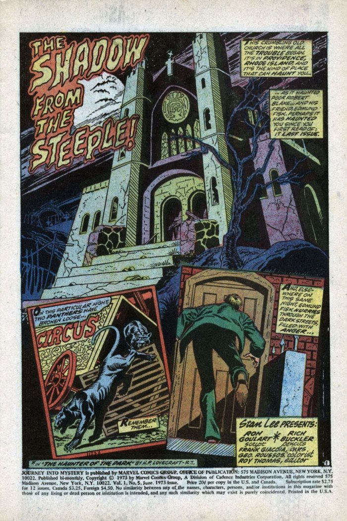The Shadow from the Steeple! original sequel to Haunter of the Dark written by Ron Goulart with art by Rich Buckler and Frank Giacoia for Journey Into Mystery Issue 5 June 1973