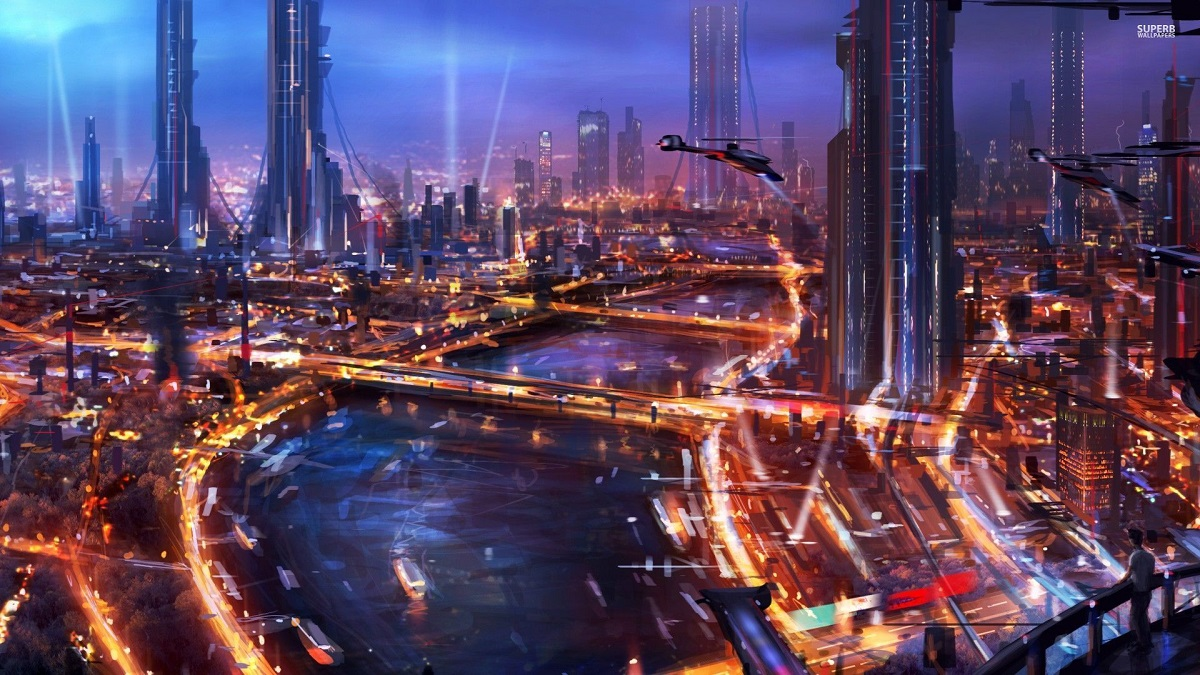 cyberpunk city science fiction of the near future