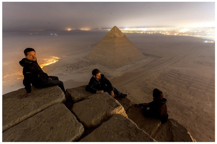 Atop the Great Pyramid of Giza - Russian photographers Vadim Makhorov, Vitaliy Raskalov and friends - location used in Cyberpunk Cthulhu fiction novel God Seed by David J Rodger