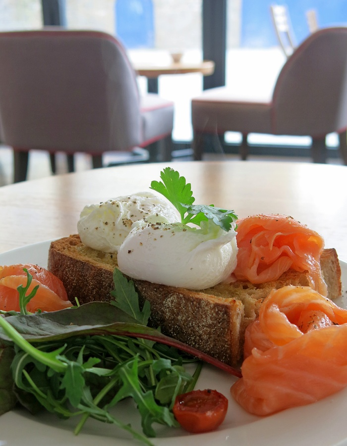 Bristol breakfast poached eggs and smoked salmon on sourdough bread at Brigstow Lounge - photo David J Rodger
