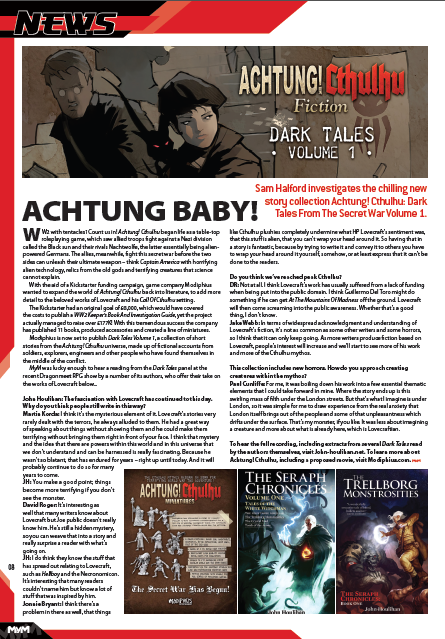 MyM Magazine features quotes from Cthulhu Mythos horror author David J Rodger