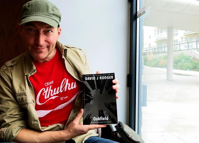 Science Fiction Dark Fantasy Author David J Rodger with his new Cthulhu Mythos horror novel Oakfield
