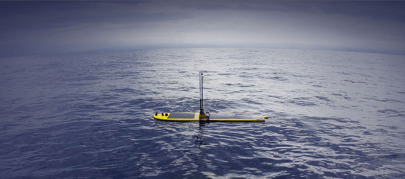 Liquid Robotics Wave Glider SV3 unmanned autonomous marine robots use the ocean waves for energy