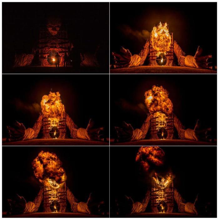 daniel popper Afrikaburn - wicker man effigy set on fire