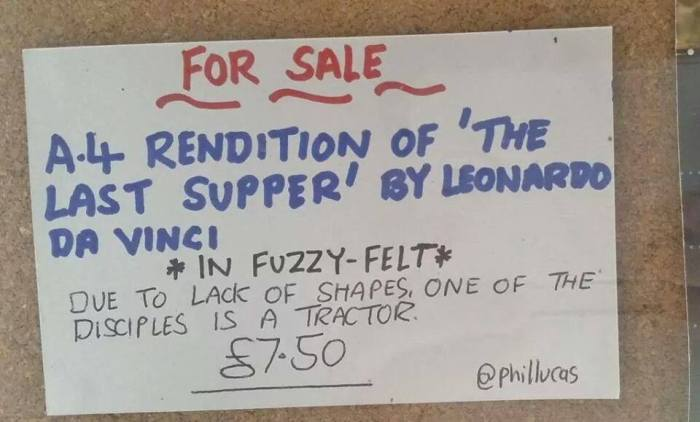 For Sale Fuzzy Felt rendition of the Last Supper by Leonardo da Vinci - phil lucas - One of funniest things I've seen on the web, David J Rodger