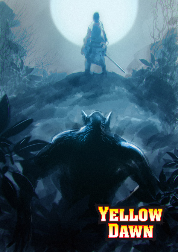 horrors in the new wilderness - werewolf or other beast in-post-apocalyptic-cyberpunk-setting-of-yellow-dawn-the-age-of-hastur-by-david-j-rodger-all-rights-reserved