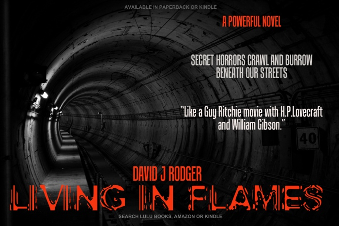 Living in Flames good book to read by best sci fi author David J Rodger combines cyberpunk with dark suspense and horror