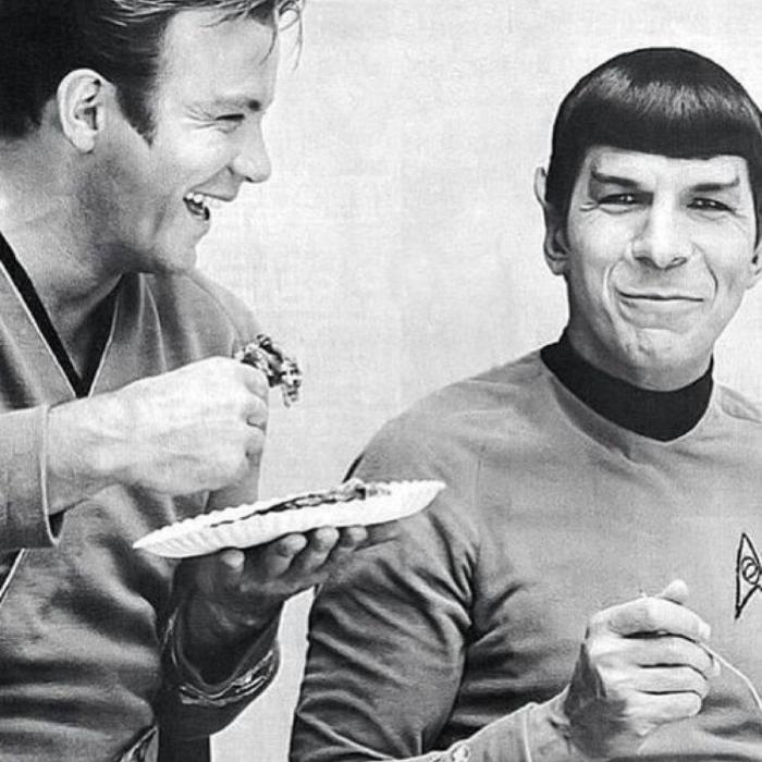 My favourite photo of William Shatner and Leonard Nimoy as Kirk and Spock- in the cusp of happiness - Star Trek