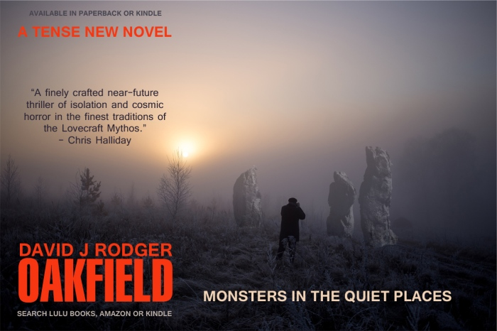 Oakfield a good sci fi book to read by David J Rodger bringing horror and monsters of Cthulhu Mythos to Cornwall England