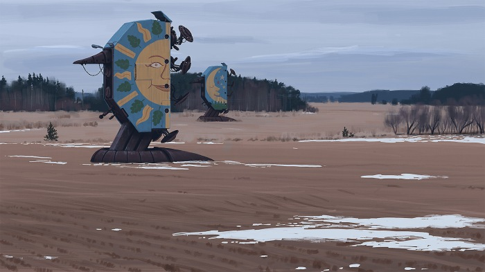 Simon Stålenhag illustrations mysterious robots in farming terrain
