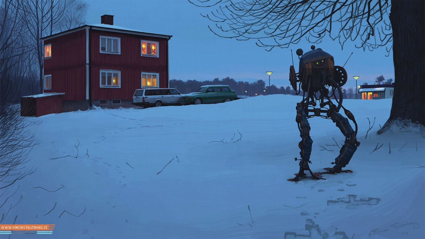 Simon Stålenhag illustrations of a domestic robot sentry