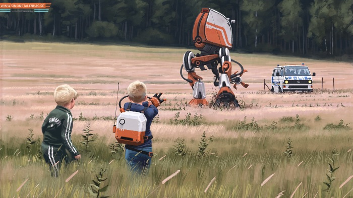 Simon Stålenhag mundane scenes of Scandinavian countryside juxtaposed with sci-fi elements