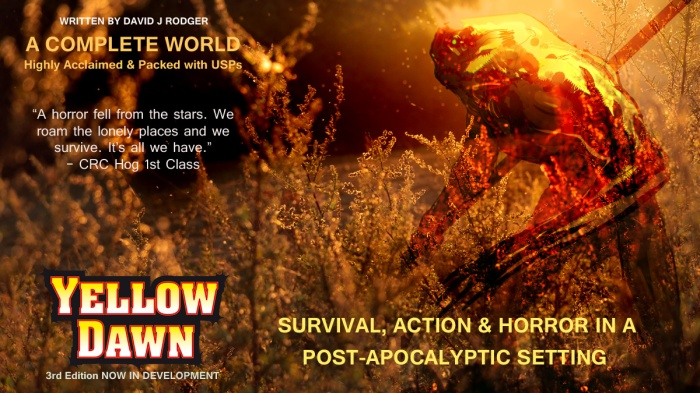 Yellow Dawn - The Age of Hastur RPG - a world of survival and Lovecraftian horror and setting for post apocalypse books by David J Rodger