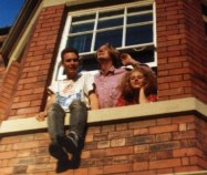 Adam Adz, Richy and Grassy at Manor House Road 1991 Jesmond Newcastle Upon Tyne - room where Oakfield saw some writing action by David J Rodger