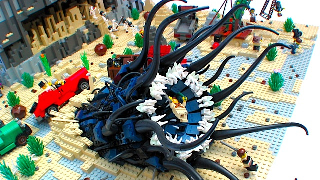 Cthulhu for kids this Chthonian (Brian Lumley) comes burrowing up through Lego to say hello - kid friendly, erm no