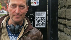 David J Rodger with QRcode giving access to one part of Redcliffe Requiem in Bristol - organised by the Dream of a Shadow Project for Future Ways