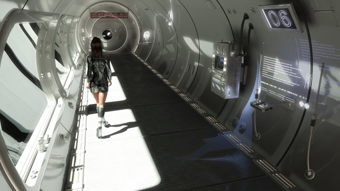 Science Fiction Art - female figure walks orbital habitat corridor lab facility in space