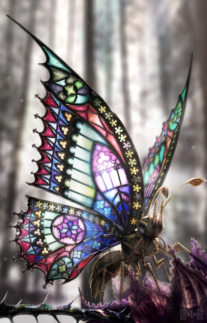 a steampunk gothic butterfly, stained glass wings and Victorian engineering produces a beautiful miniature drone -  digital paiting by  David Aguirre Hoffmann - all rights reserved